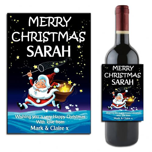 Personalised Happy Christmas Wine / Champagne Bottle Label N47